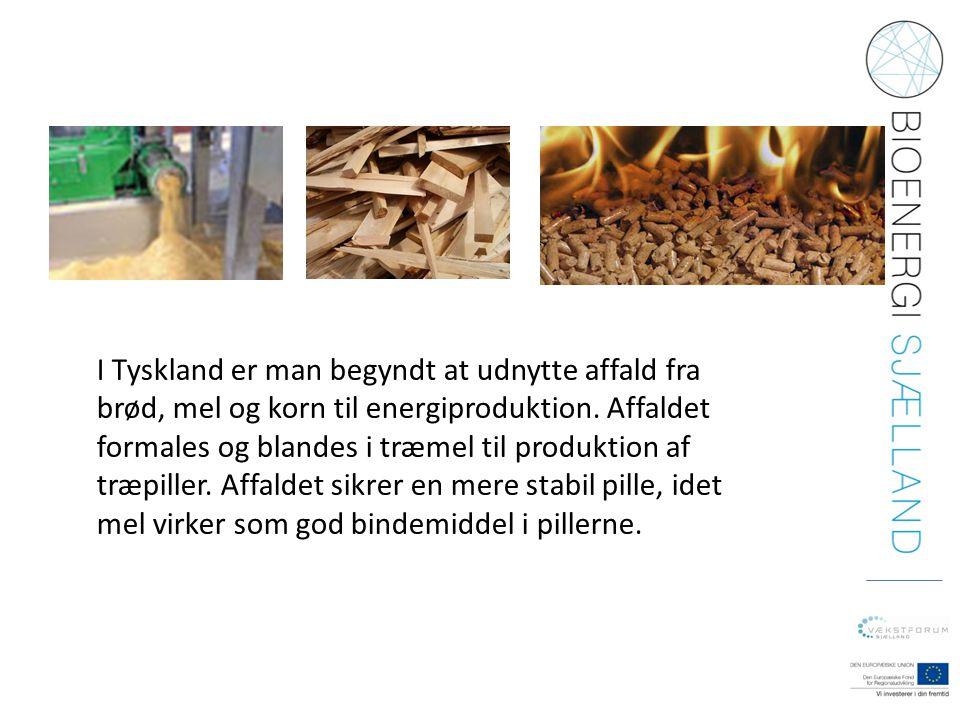I Tyskland er man begyndt at udnytte affald fra brød, mel og korn til energiproduktion. Affaldet formales og blandes i træmel til produktion af træpil