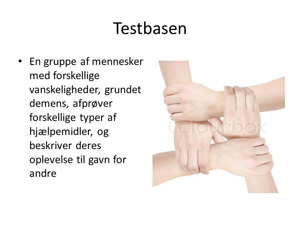 Testbasen • En gruppe af mennesker med forskellige vanskeligheder, grundet demens, afprøver forskellige typer af hjælpemidler, og beskriver deres oplevelse til gavn for andre