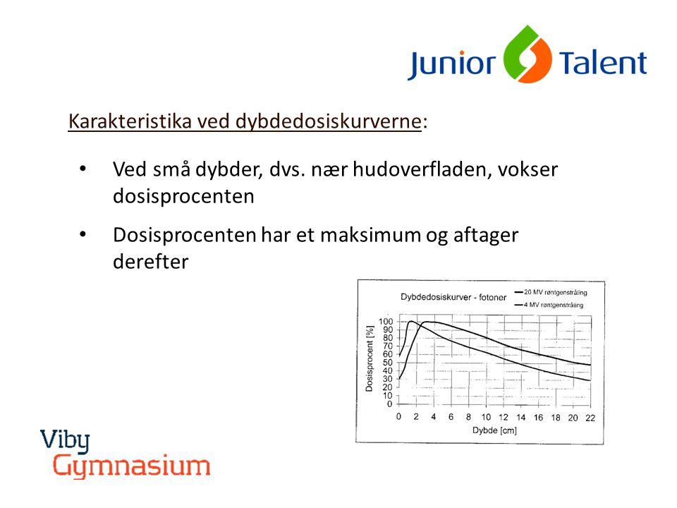 Hvad afhænger dybdedosiskurverne af: • Energien af strålingen: Højere energi  dybere beliggende maksimum og kurven aftager langsommere • Størrelsen af det bestrålede område: Kurven aftager langsommere ved bestråling af større områder