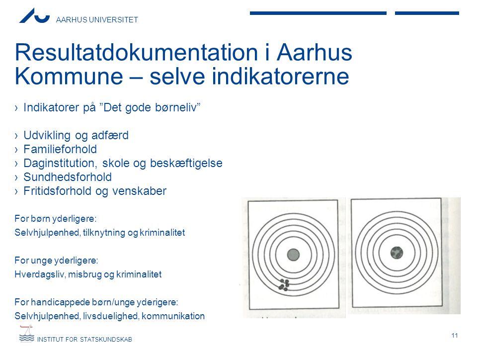 """AARHUS UNIVERSITET INSTITUT FOR STATSKUNDSKAB Resultatdokumentation i Aarhus Kommune – selve indikatorerne ›Indikatorer på """"Det gode børneliv"""" ›Udvikl"""