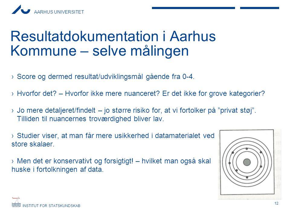 AARHUS UNIVERSITET INSTITUT FOR STATSKUNDSKAB Resultatdokumentation i Aarhus Kommune – selve målingen ›Score og dermed resultat/udviklingsmål gående f