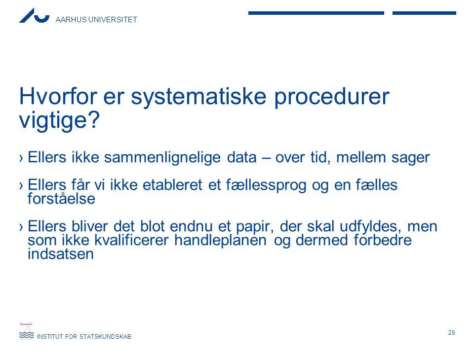 AARHUS UNIVERSITET INSTITUT FOR STATSKUNDSKAB Hvorfor er systematiske procedurer vigtige? ›Ellers ikke sammenlignelige data – over tid, mellem sager ›