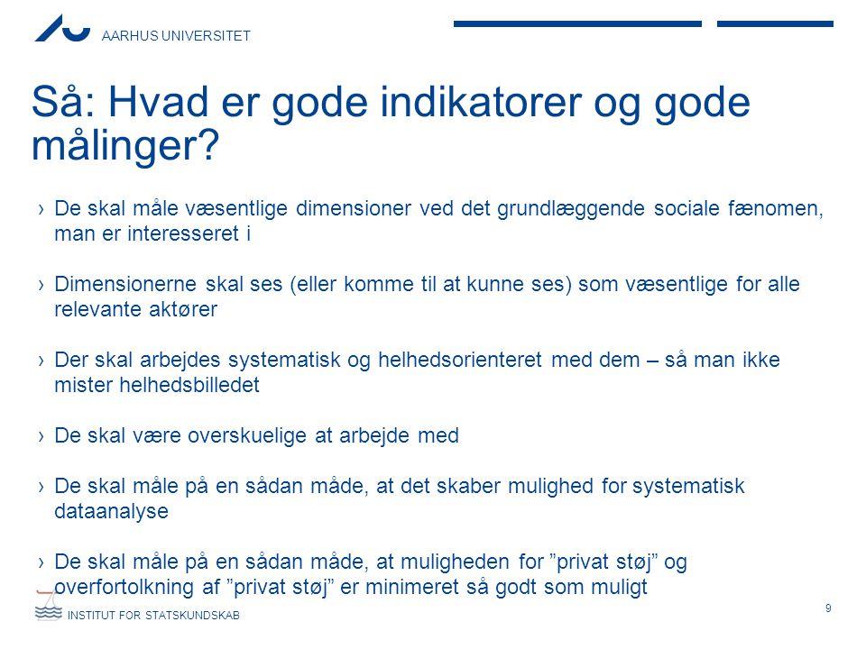 AARHUS UNIVERSITET INSTITUT FOR STATSKUNDSKAB Så: Hvad er gode indikatorer og gode målinger.