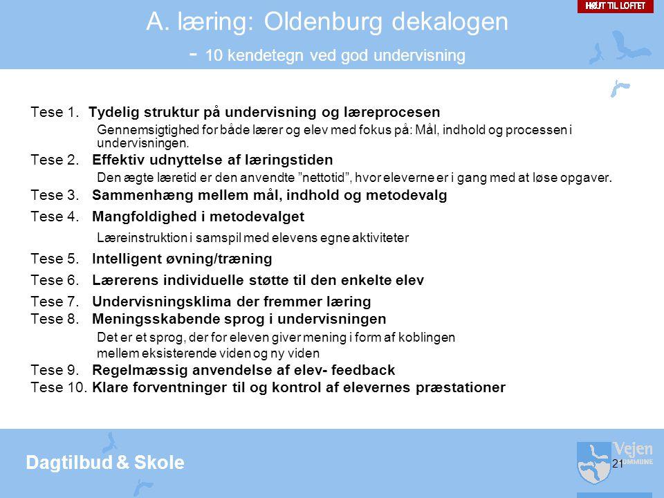 Dagtilbud & Skole 21 A.læring: Oldenburg dekalogen - 10 kendetegn ved god undervisning Tese 1.