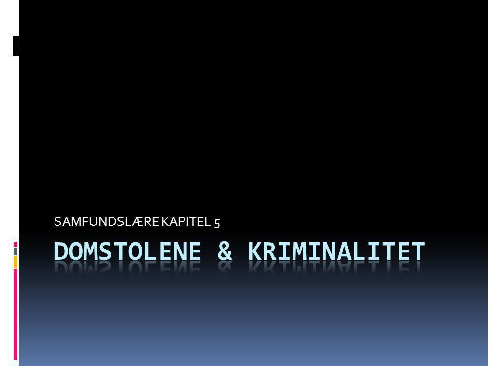 DOMSTOLENE – del 1  Domstolenes 3 opgaver: - Sikre at Folketinget ikke vedtager love der ikke er grundlovsstridige - Dømme i civile sager - Dømme i straffesager I alt har vi over 2000 love i Danmark, heriblandt de kendte - Straffeloven: omhandler bl.a.
