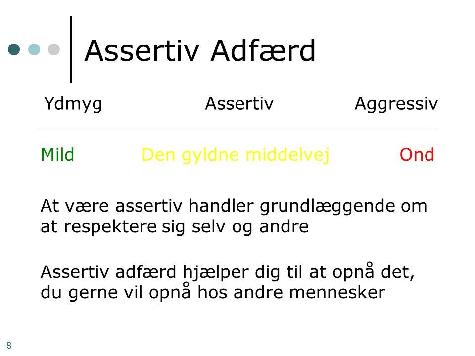8 Assertiv Adfærd At være assertiv handler grundlæggende om at respektere sig selv og andre Assertiv adfærd hjælper dig til at opnå det, du gerne vil
