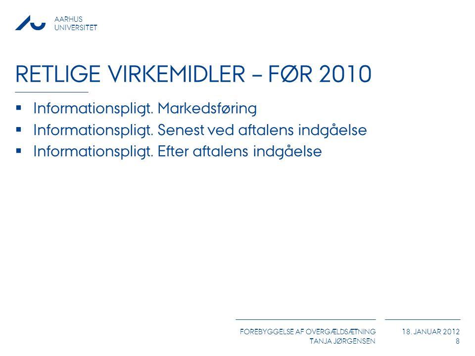 AARHUS UNIVERSITET FOREBYGGELSE AF OVERGÆLDSÆTNING TANJA JØRGENSEN 18. JANUAR 2012 RETLIGE VIRKEMIDLER – FØR 2010  Informationspligt. Markedsføring 