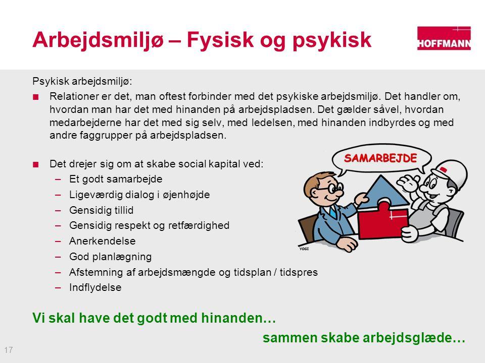 Arbejdsmiljø – Fysisk og psykisk Psykisk arbejdsmiljø: Relationer er det, man oftest forbinder med det psykiske arbejdsmiljø.