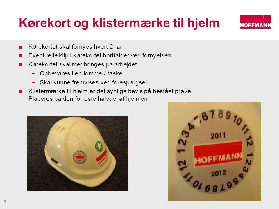 Kørekort og klistermærke til hjelm Kørekortet skal fornyes hvert 2.