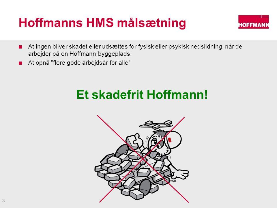 Hoffmanns HMS målsætning At ingen bliver skadet eller udsættes for fysisk eller psykisk nedslidning, når de arbejder på en Hoffmann-byggeplads.