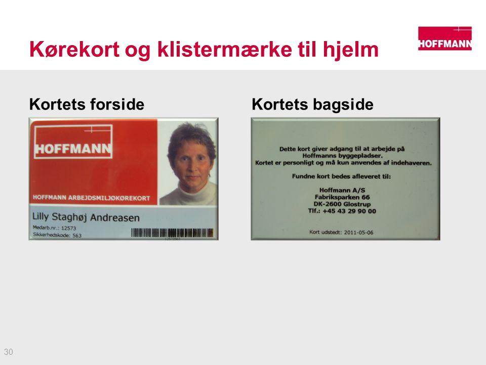 Kørekort og klistermærke til hjelm Kortets forsideKortets bagside 30
