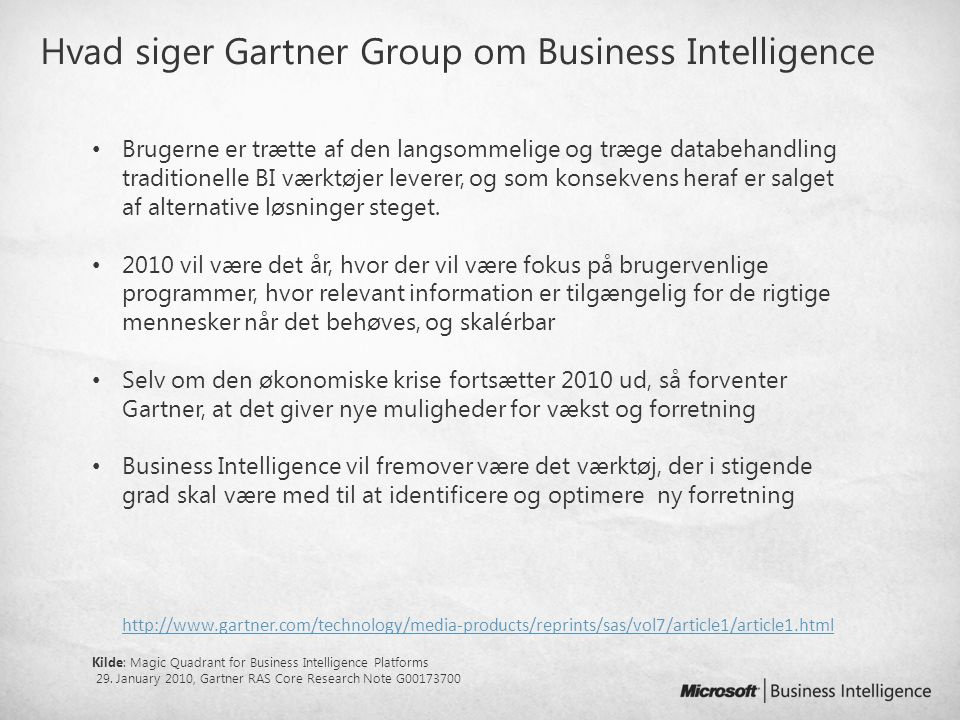 Hvad siger Gartner Group om Microsoft og Business Intelligence
