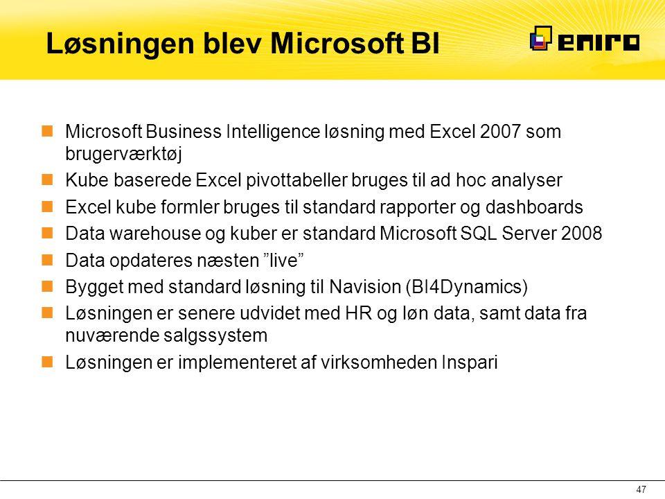Løsningen blev Microsoft BI  Microsoft Business Intelligence løsning med Excel 2007 som brugerværktøj  Kube baserede Excel pivottabeller bruges til