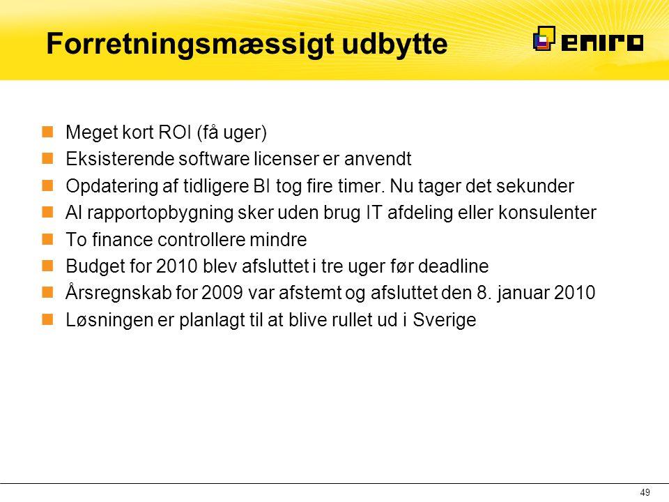 Forretningsmæssigt udbytte  Meget kort ROI (få uger)  Eksisterende software licenser er anvendt  Opdatering af tidligere BI tog fire timer. Nu tage