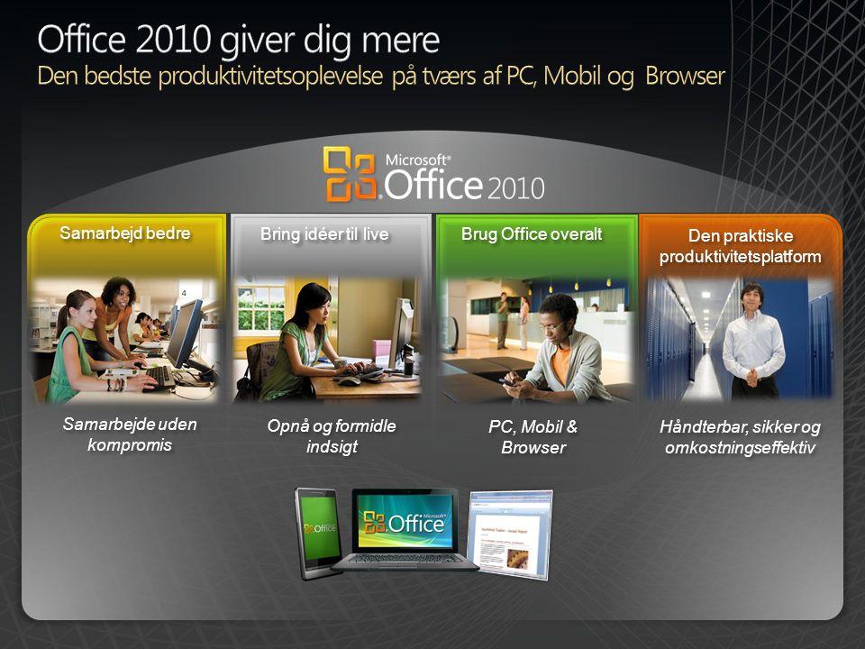 Samarbejd bedre Bring idéer til live Brug Office overalt Samarbejde uden kompromis Opnå og formidle indsigt PC, Mobil & Browser E Håndterbar, sikker o