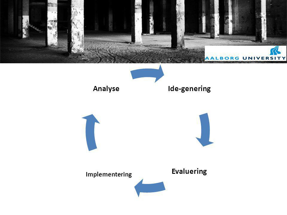 Ide-genering Evaluering Implementering Analyse