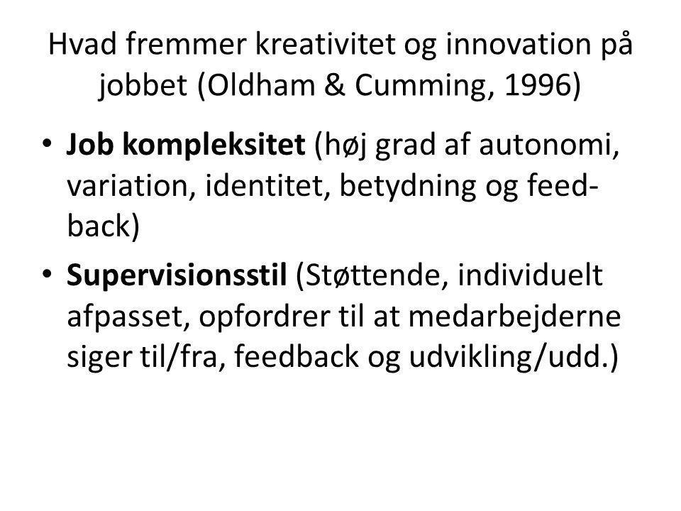 Hvad fremmer kreativitet og innovation på jobbet (Oldham & Cumming, 1996) • Job kompleksitet (høj grad af autonomi, variation, identitet, betydning og