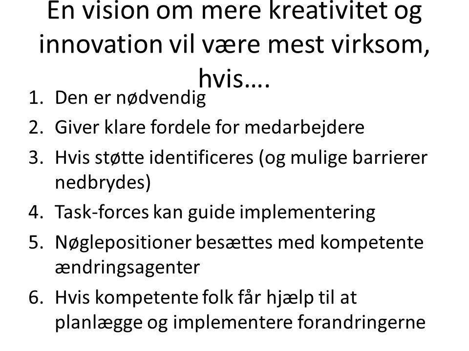 En vision om mere kreativitet og innovation vil være mest virksom, hvis…. 1.Den er nødvendig 2.Giver klare fordele for medarbejdere 3.Hvis støtte iden