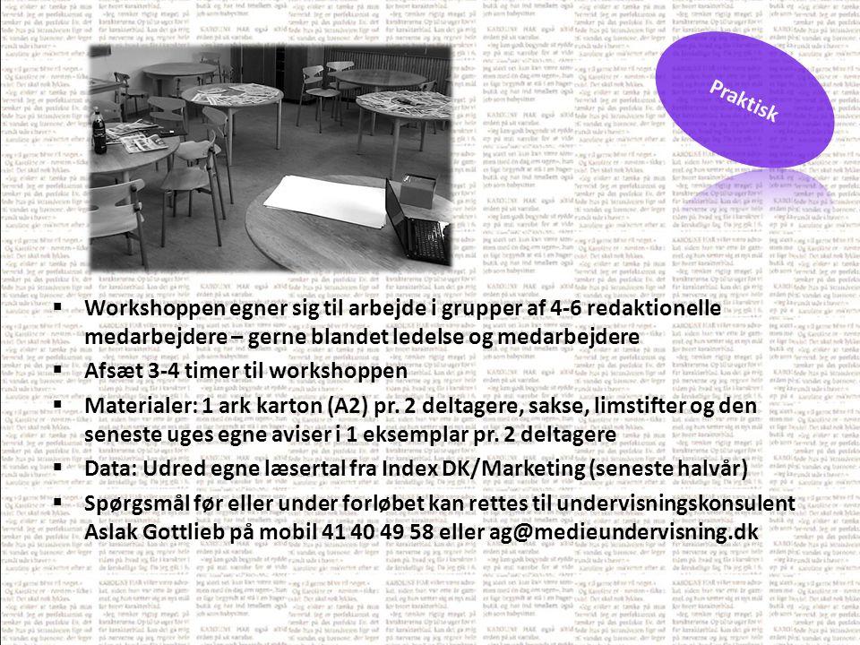  Workshoppen egner sig til arbejde i grupper af 4-6 redaktionelle medarbejdere – gerne blandet ledelse og medarbejdere  Afsæt 3-4 timer til workshoppen  Materialer: 1 ark karton (A2) pr.