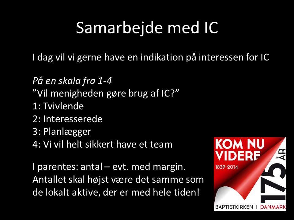 """Samarbejde med IC I dag vil vi gerne have en indikation på interessen for IC På en skala fra 1-4 """"Vil menigheden gøre brug af IC?"""" 1: Tvivlende 2: Int"""