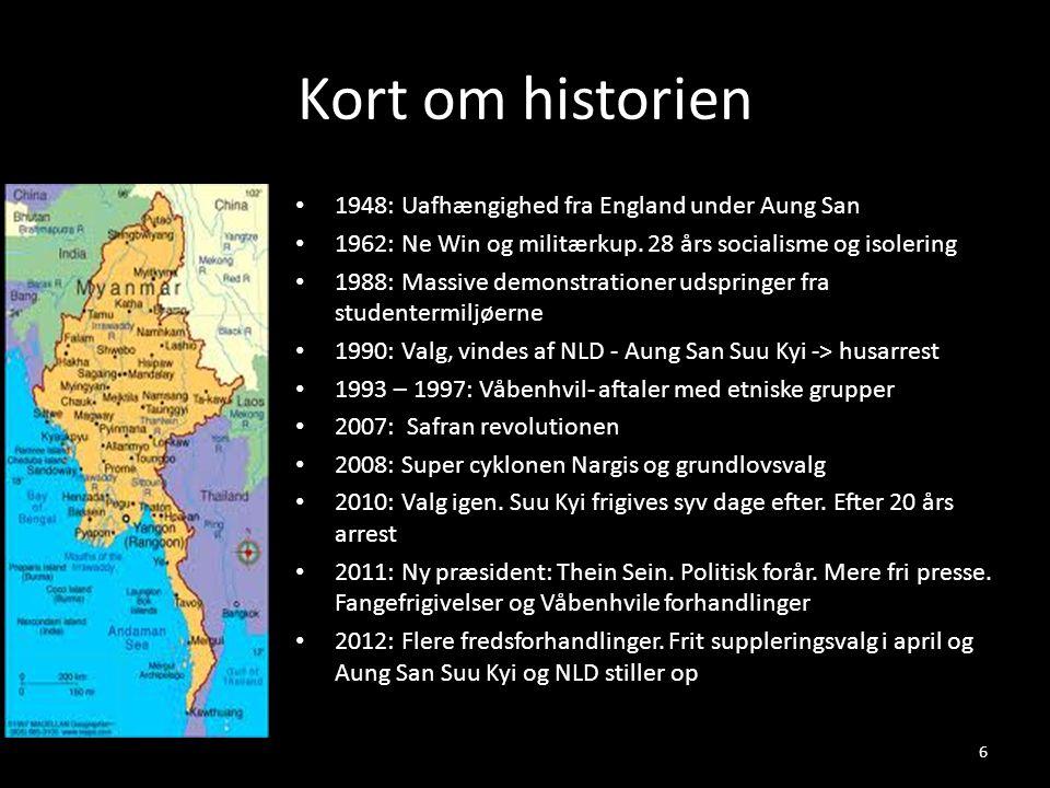 Kort om historien • 1948: Uafhængighed fra England under Aung San • 1962: Ne Win og militærkup. 28 års socialisme og isolering • 1988: Massive demonst