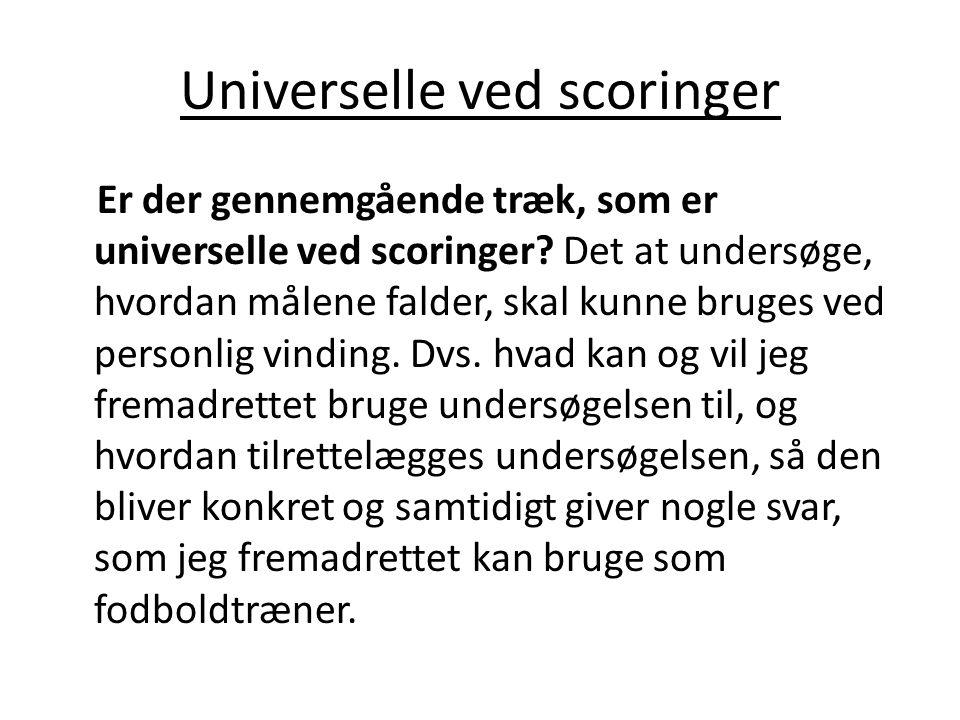 Universelle ved scoringer Er der gennemgående træk, som er universelle ved scoringer? Det at undersøge, hvordan målene falder, skal kunne bruges ved p