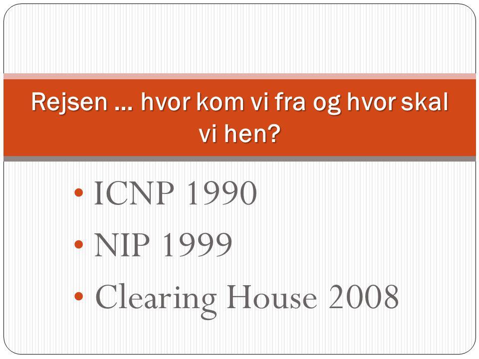 • ICNP 1990 • NIP 1999 • Clearing House 2008 Rejsen … hvor kom vi fra og hvor skal vi hen?