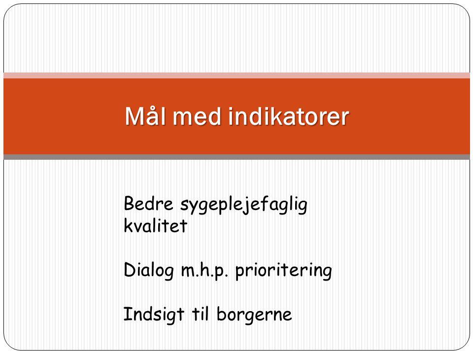 Mål med indikatorer Bedre sygeplejefaglig kvalitet Dialog m.h.p. prioritering Indsigt til borgerne