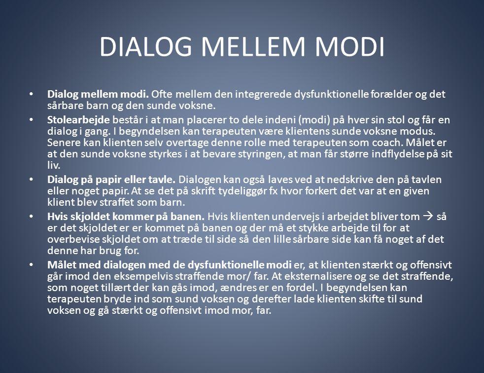 DIALOG MELLEM MODI • Dialog mellem modi. Ofte mellem den integrerede dysfunktionelle forælder og det sårbare barn og den sunde voksne. • Stolearbejde