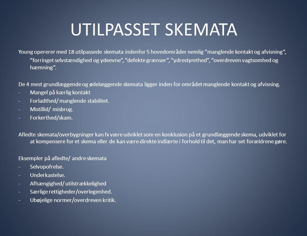 """UTILPASSET SKEMATA Young opererer med 18 utilpassede skemata indenfor 5 hovedområder nemlig """"manglende kontakt og afvisning"""", """"forringet selvstændighe"""
