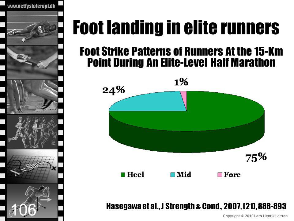 www.netfysioterapi.dk Copyright © 2010 Lars Henrik Larsen Foot landing in elite runners Foot Strike Patterns of Runners At the 15-Km Point During An E