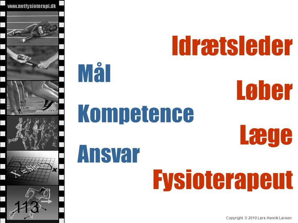 www.netfysioterapi.dk Copyright © 2010 Lars Henrik Larsen 113 Idrætsleder Løber Læge Fysioterapeut Mål Kompetence Ansvar