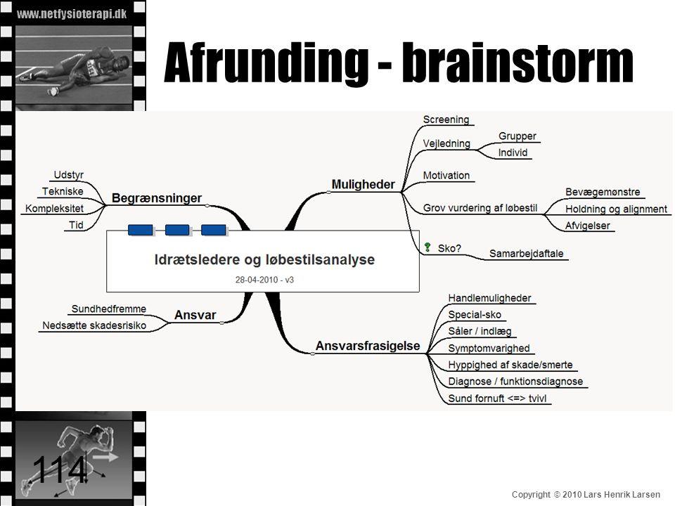 www.netfysioterapi.dk Copyright © 2010 Lars Henrik Larsen Afrunding - brainstorm 114