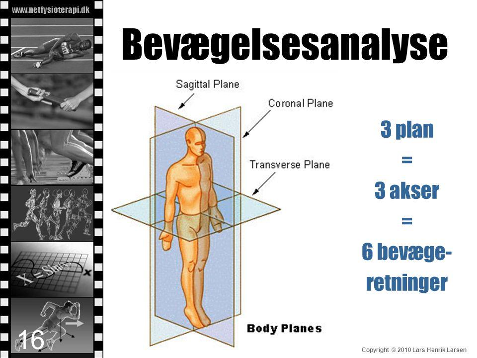 www.netfysioterapi.dk Copyright © 2010 Lars Henrik Larsen Bevægelsesanalyse 16 3 plan = 3 akser = 6 bevæge- retninger