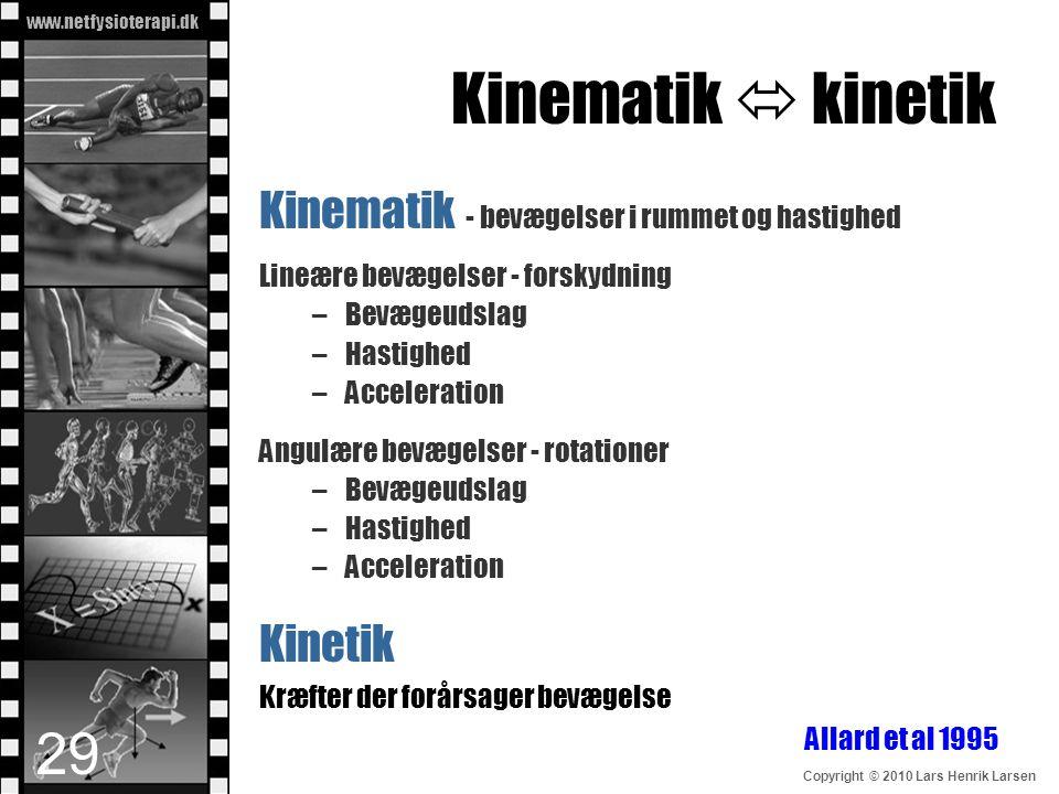 www.netfysioterapi.dk Copyright © 2010 Lars Henrik Larsen Kinematik  kinetik Kinematik - bevægelser i rummet og hastighed Lineære bevægelser - forsky