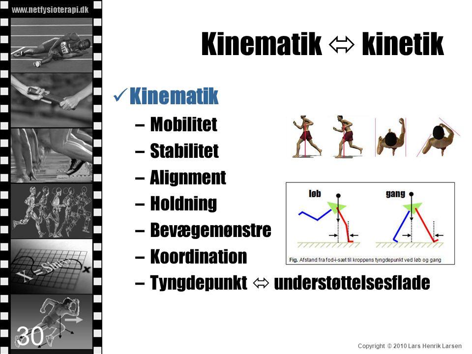 www.netfysioterapi.dk Copyright © 2010 Lars Henrik Larsen Kinematik  kinetik  Kinematik –Mobilitet –Stabilitet –Alignment –Holdning –Bevægemønstre –