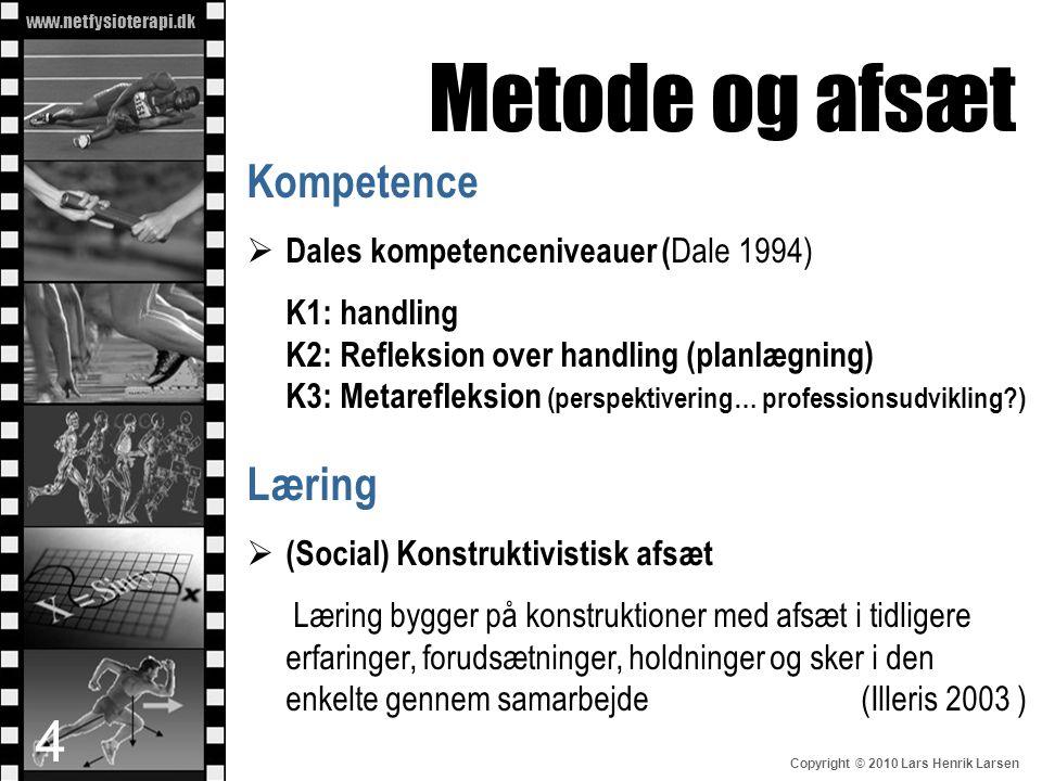 www.netfysioterapi.dk Copyright © 2010 Lars Henrik Larsen Kompetence  Dales kompetenceniveauer ( Dale 1994) K1: handling K2: Refleksion over handling