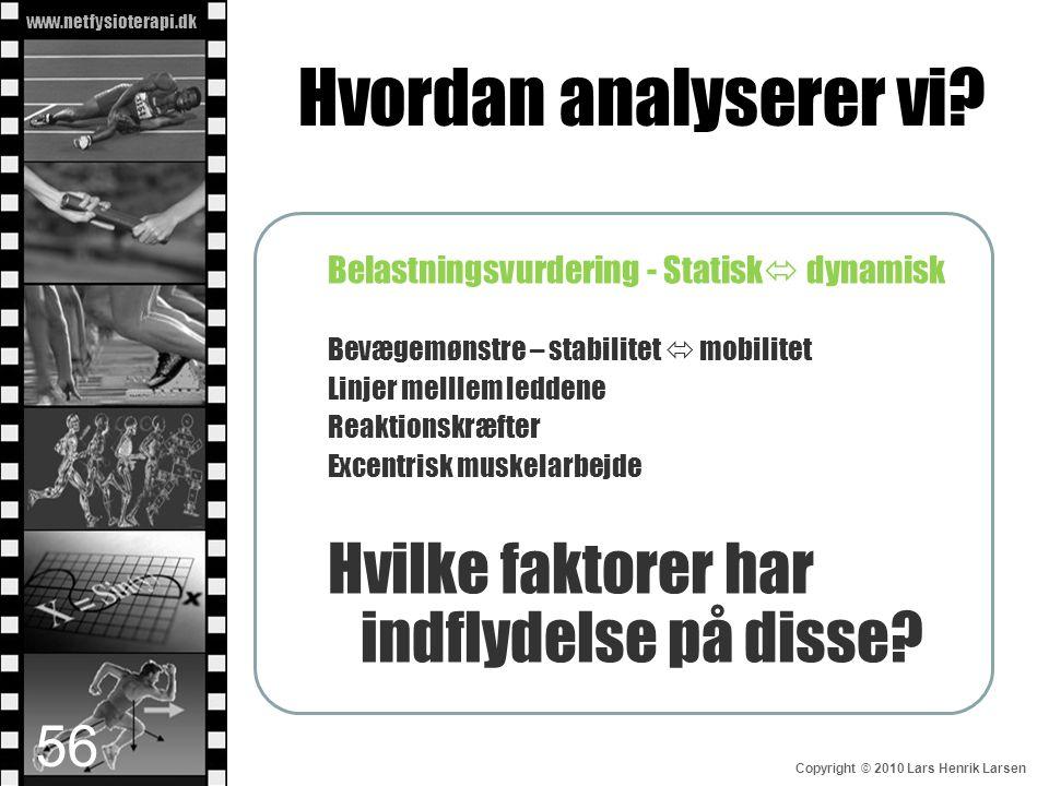 www.netfysioterapi.dk Copyright © 2010 Lars Henrik Larsen Hvordan analyserer vi? Belastningsvurdering - Statisk  dynamisk Bevægemønstre – stabilitet