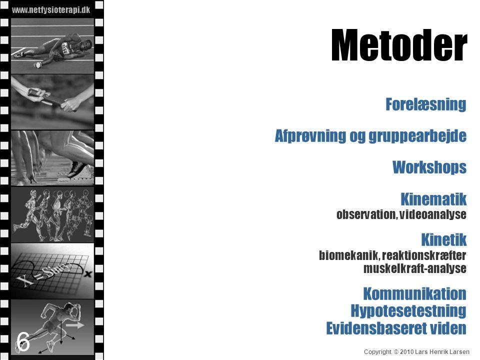 www.netfysioterapi.dk Copyright © 2010 Lars Henrik Larsen Metoder Forelæsning Afprøvning og gruppearbejde Workshops Kinematik observation, videoanalys