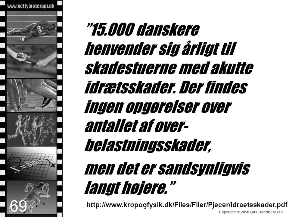 """www.netfysioterapi.dk Copyright © 2010 Lars Henrik Larsen """"15.000 danskere henvender sig årligt til skadestuerne med akutte idrætsskader. Der findes i"""
