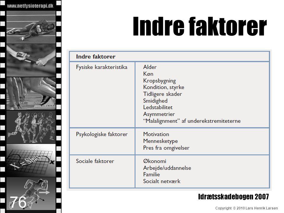 www.netfysioterapi.dk Copyright © 2010 Lars Henrik Larsen Indre faktorer Idrætsskadebogen 2007 76