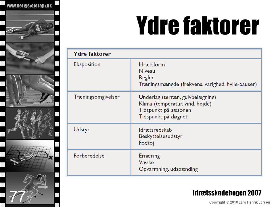 www.netfysioterapi.dk Copyright © 2010 Lars Henrik Larsen Ydre faktorer Idrætsskadebogen 2007 77