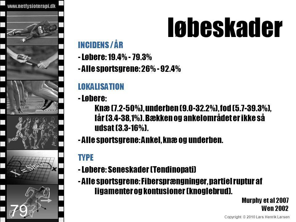 www.netfysioterapi.dk Copyright © 2010 Lars Henrik Larsen løbeskader INCIDENS / ÅR - Løbere: 19.4% - 79.3% - Alle sportsgrene: 26% - 92.4% LOKALISATIO