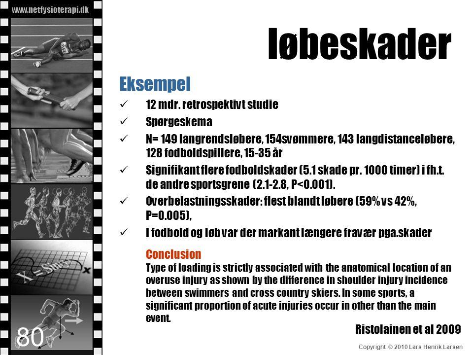 www.netfysioterapi.dk Copyright © 2010 Lars Henrik Larsen løbeskader Eksempel  12 mdr. retrospektivt studie  Spørgeskema  N= 149 langrendsløbere, 1