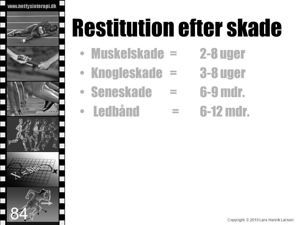 www.netfysioterapi.dk Copyright © 2010 Lars Henrik Larsen Restitution efter skade •Muskelskade =2-8 uger •Knogleskade=3-8 uger •Seneskade=6-9 mdr. • L
