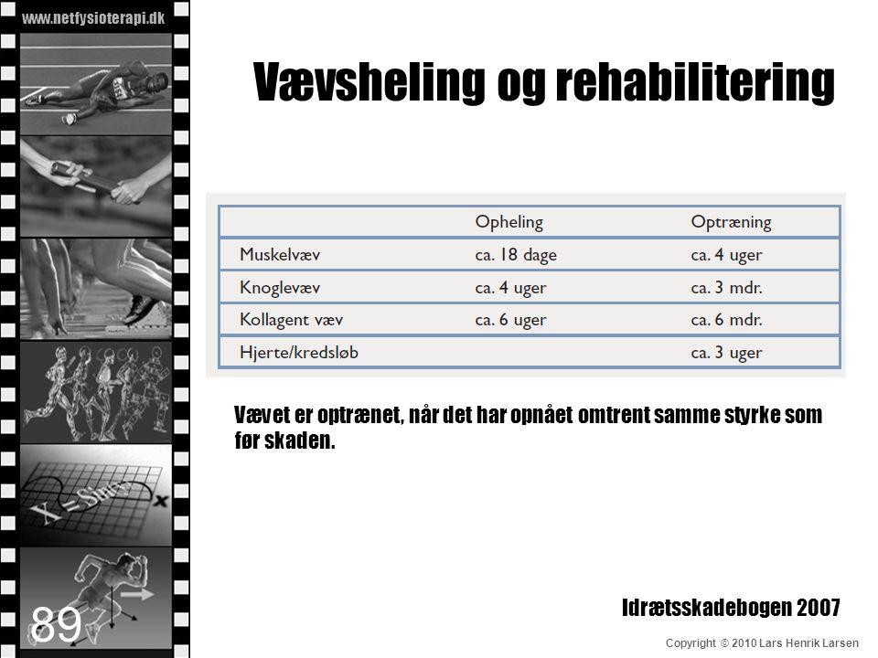 www.netfysioterapi.dk Copyright © 2010 Lars Henrik Larsen Vævsheling og rehabilitering Vævet er optrænet, når det har opnået omtrent samme styrke som