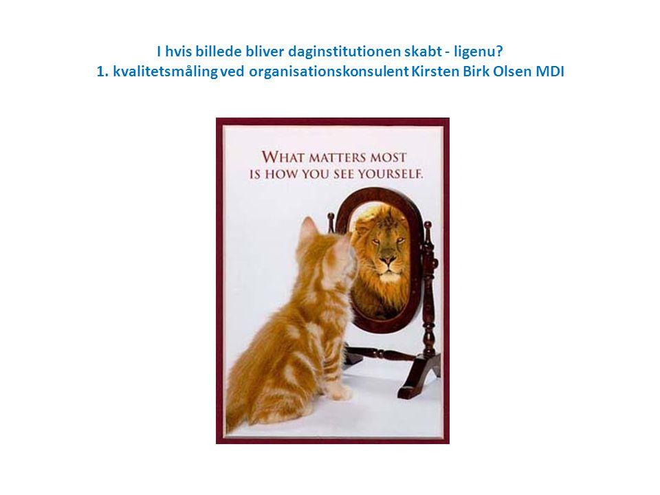I hvis billede bliver daginstitutionen skabt - ligenu? 1. kvalitetsmåling ved organisationskonsulent Kirsten Birk Olsen MDI