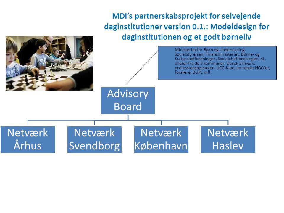 MDI's partnerskabsprojekt for selvejende daginstitutioner version 0.1.: Modeldesign for daginstitutionen og et godt børneliv Advisory Board Netværk År