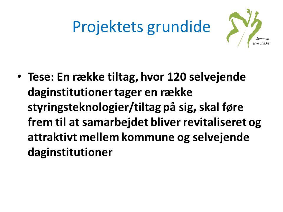 Projektets grundide • Tese: En række tiltag, hvor 120 selvejende daginstitutioner tager en række styringsteknologier/tiltag på sig, skal føre frem til