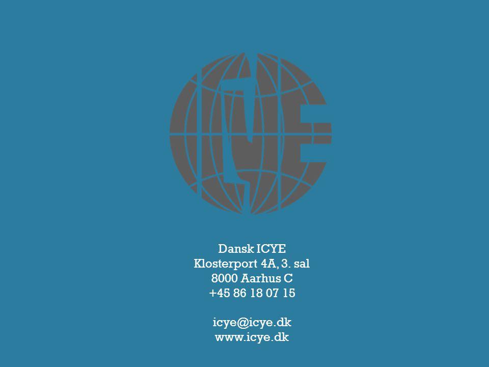 Dansk ICYE Klosterport 4A, 3. sal 8000 Aarhus C +45 86 18 07 15 icye@icye.dk www.icye.dk